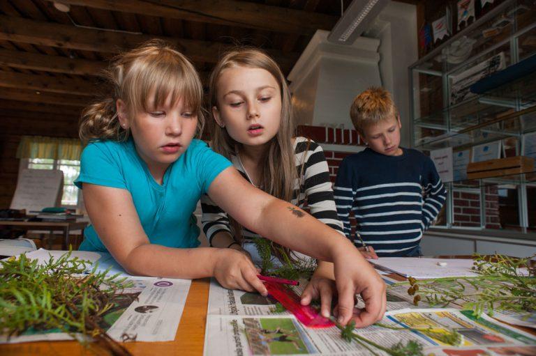Johanna Reimi opettaa oppilaitaan ympäristöopin tunnilla kristillisessä koulussa, Rovaniemellä pe 12.8.2016; Valokuvaaja Pirjo Puurunen, puh. 040-9116374